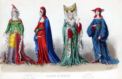 Medieval Burgundian clothing. French fashion in the middle ages. Mid-century gothic costume ideas