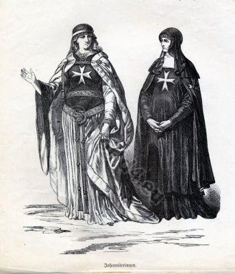 Nuns costumes. Crusades. Crusader. Knights Hospitallers. Malta. Military orders.St. John. Monastic Costumes.