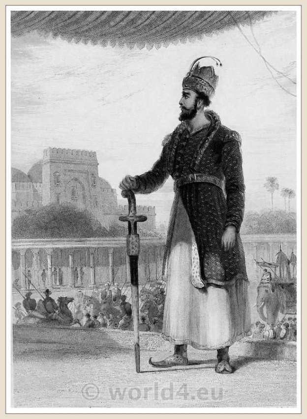 Traditional costumes in Indian Mughal era style. Mohammedan Mohamedan Chobdar, Native islam man dress. India Mughal style.