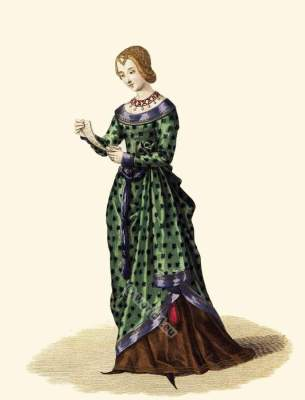 14th century clothing, Laura de Noves. Laure de Sade. Nobility fashion in the Middle Ages. Costume history.