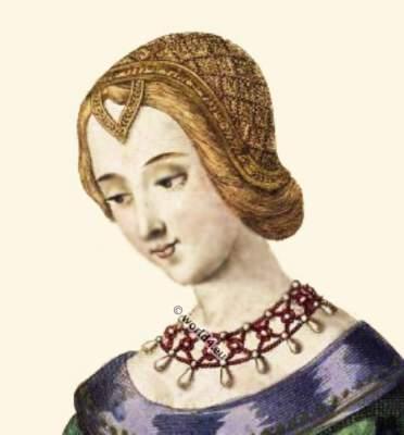 14th century clothing, Laura de Noves. Laure de Sade. Headdresses, Middle Ages.