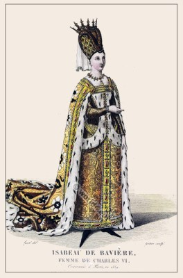 Isabeau de Bavière. Medieval French Queen. 14th century clothing. Gothic costume