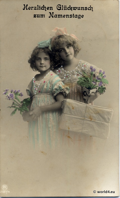 German girls art nouveau fashion. Children vintage clothing.