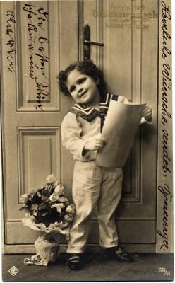 Vintage and retro sailor costume of german boy. Boho Child dress. Greeting card