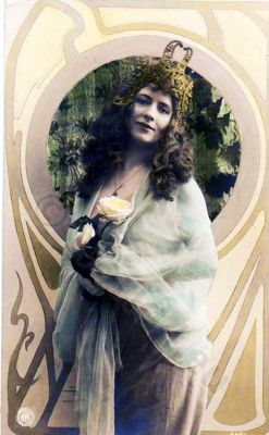 German Art nouveau costumes. Fin de siecle vintage fashion. Hair style and make-up