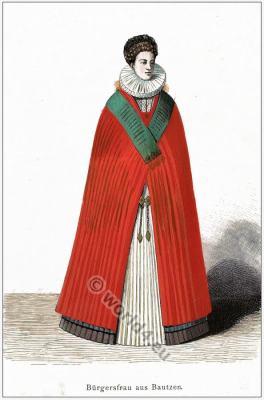 German medieval period clothing. Bautzen Tracht. Spanisch fashion