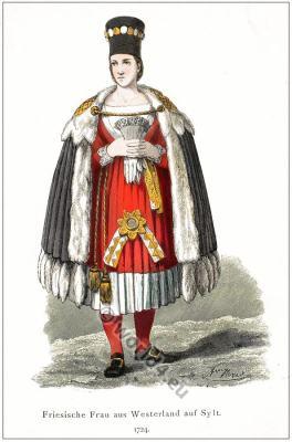 Traditional German folk costume. Original Westerland Tracht.