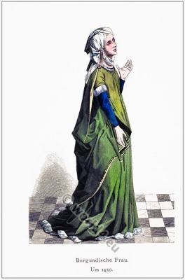 Burgundian Woman 15th century costume.