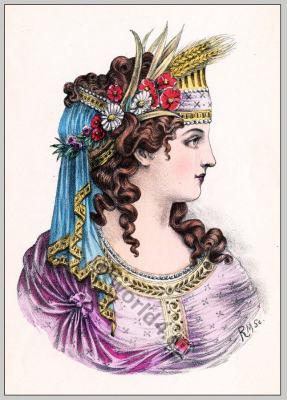 Coiffure Grèque. Greek Tiara, Diadem. Ancient Greek fashion.