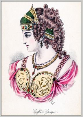 Ancient Greece diadem. Ancient Greek Tiara. Greece hairstyle. The Ancient Greek Costume.