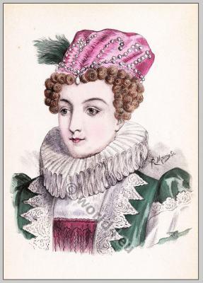 Historic renaissance hairstyles. Marguerite de Navarre. Coiffure Henri IV.