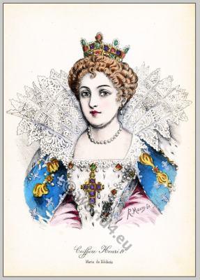 Renaissance hairstyle. French Historical hairdos. France Queen Maria de' Medici fashion.