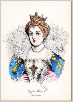 Renaissance hairstyle. French Historical hairdos. France Queen Marie de' Medici.