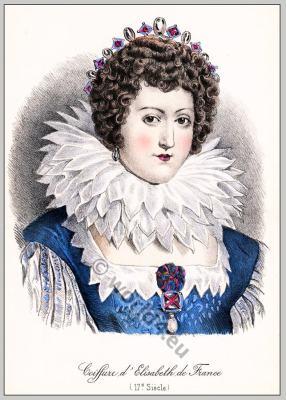 Baroque coiffure. Elisabeth de France. 17th century fashion. Spanish queen. Isabel de Borbón y Médici