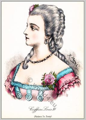 Comtesse du Barry. Rococo hairstyle 18th century.
