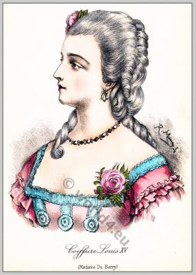 Marie Jeanne, comtesse du Barry. French Ancien Régime fashion. Coiffure Rococo period.