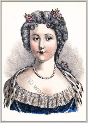 Queen of France. Marie Leczinska. French Ancien Régime fashion. Coiffure Rococo period.