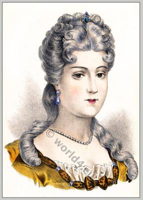 Mademoiselle de Chartres, Coiffure Louis XV, coiffures historiques, Rococo fashion, Hairstyle, 18th century.