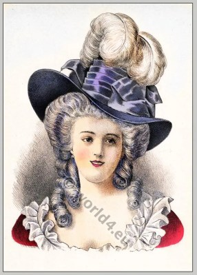 Rococo hairstyle, 18th century.