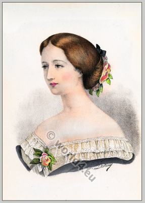 Second Empire hairstyle. French Historical hairdos. France women`s fashion.