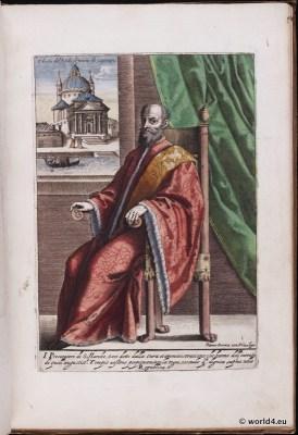 Venice fashion. Doge. Nobel men. Italy renaissance. 16th century costumes.