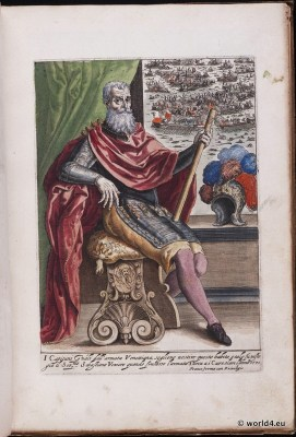Venice fashion. Nobel men. Knight. Italy renaissance. 16th century costumes.