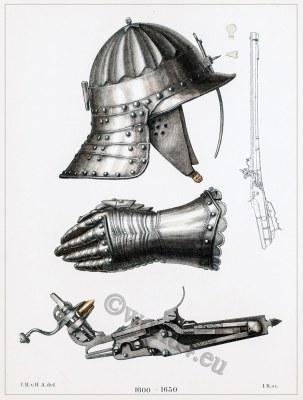 30 years war weapons. Helmet, gloves, Musketeer rifle. Armor, Musket in Detail.