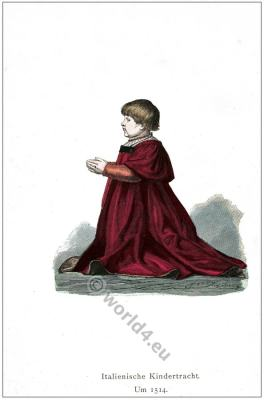 Italian Renaissance children costume. 16th century fashion