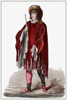 Medieval Burgundy prince costume. Gothic fashion. 15th century dress.
