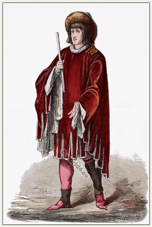 Medieval Burgundy prince costume. Gothic fashion. 15th century dress.