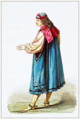 Medieval Burgundy costume. Gothic fashion. 15th century dress.