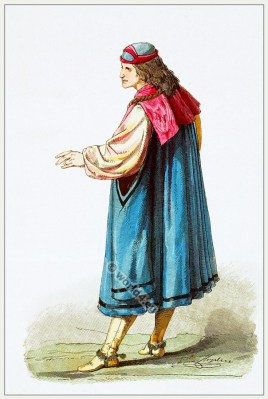 Medieval fashion. Middle ages clothing. Burgundian costume. Nobility court gown.