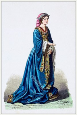 15th century costume. Medieval Burgundy dress. Gothic fashion.