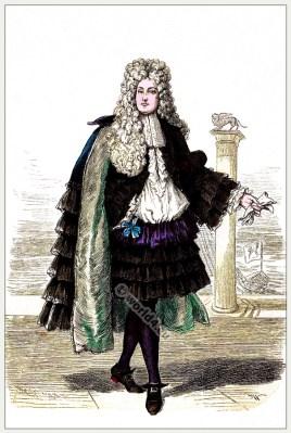 Baroque costume. Justaucorps. Allonge wig, Rheingraf pants. French Ancien Régime fashion