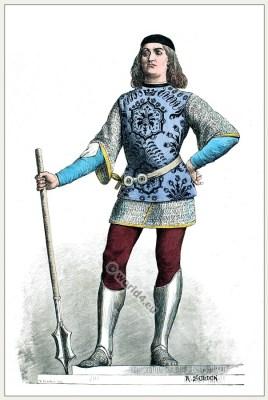 Italian Captain. Renaissance Soldier in Armor. 15th century costume. Burgundy fashion.