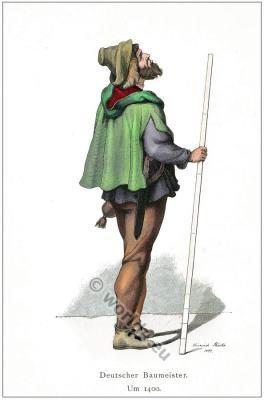 German medieval architect costume.