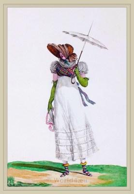 Robe de Mousseline sur un Transparent. Merveilleuses. France directoire, regency era fashion. Horace Vernet.