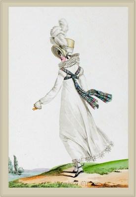 Neoclassical fashion. Merveilleuses costume Echarpe Ecossaise. France directoire, regency era fashion. Horace Vernet.