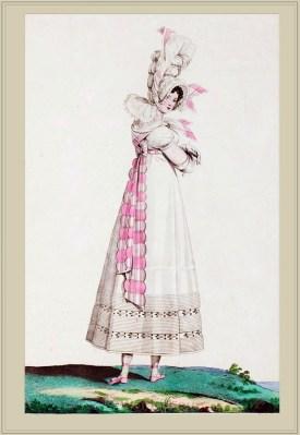 Capote de Perkale. Merveilleuses. France directoire, regency era fashion. Horace Vernet.
