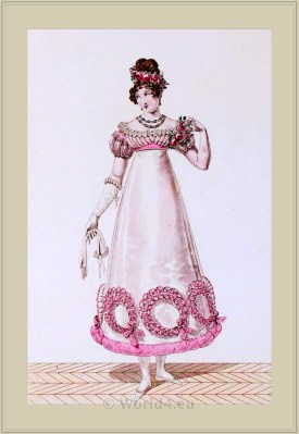 Merveilleuses Costume de Bal. France directoire, regency era fashion.