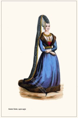 Agnes Sorel. French Nobility costumes. Middle Ages gothic fashion.