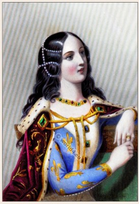Middle ages nobility clothing. Medieval costumes. French nobility, Queen of France. Renaissance and Burgundian fashion
