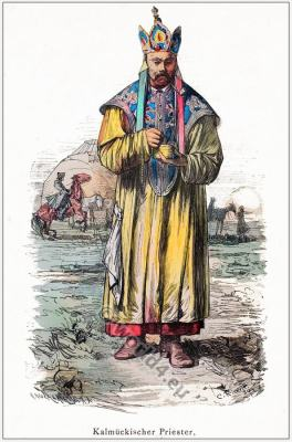 Nomadic priest costume. Kalmyk Buddhist 19th century clothing. Mongolia clothing