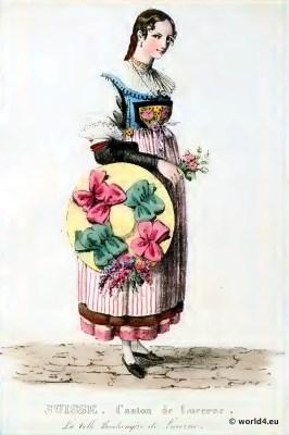 Traditional Switzerland national costume. Swiss folk costume. Clothing Canton of Lucerne
