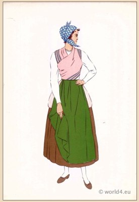 Woman costume with Apron. Traditional French national costumes. Woman folk clothing from Bordeaux with Apron