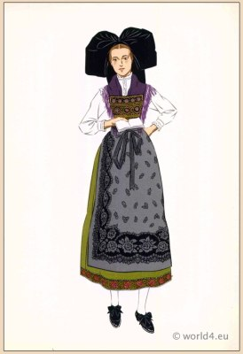 Poichoir Fashion Print. Traditional French national costumes. Woman folk dress from Alsace