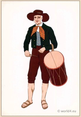 Man costume Provence, France. Traditional French national costumes.  Provence  Folk clothing
