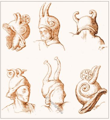 Ancient Celtic warriors. Gallic and Gallo-Roman helmets. Gauls Soldiers. Horned helmets. Celtic Cernunnos