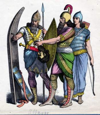 Ancient Assyrian military, soldiers costumes and dresses