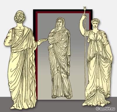 ancient, roman, costume, tunic, stola,